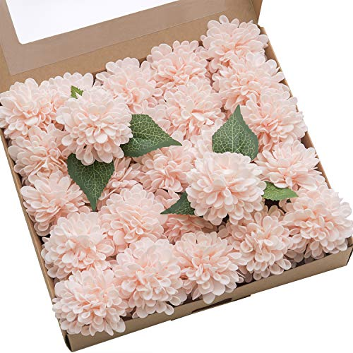 Ling's moment 25pcs Blush Pink Real Looking Fake Dahlia Artificial Flowers w/Stem for DIY Wedding Bouquets Centerpieces Arrangements Party Baby Shower Home Decorations ()