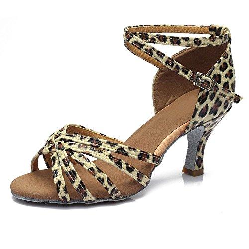 YFF Women Professional Dancing Shoes Ballroom Ladies Latin Heeled,Leopard 5CM,7