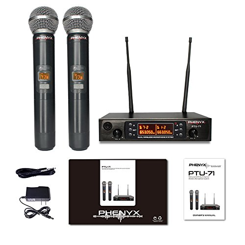 Phenyx Pro Dual UHF Wireless Microphone System, Metal Receiver and Handheld Mics, 80 Channels, Up to 250ft Professional Operation, 16 Hours Use, Ideal For Church, Karaoke Party(PTU-71) by Phenyx Pro (Image #5)