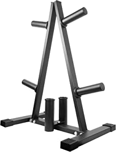 Luwint Plate Tree, 2 in Weight Plate Storage Rack with 2 Olympic Bar Holders for Home Gym