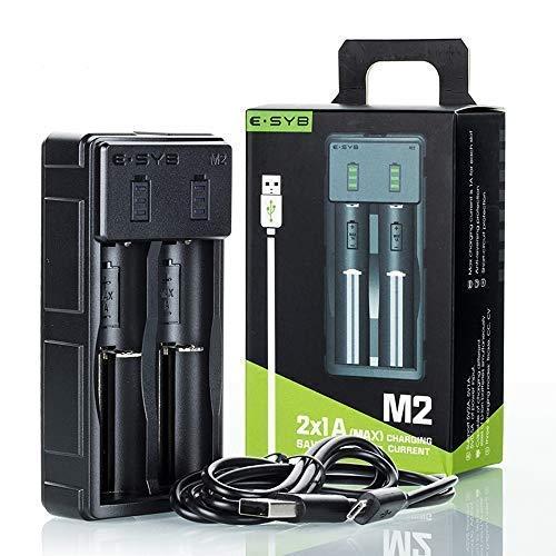 E-SYB M2 Smart Battery Charger, Portable 18650 Li-ion Rechargeable Battery Charger 2 Bay with USB Port for 3.7V Flashlight Headlamp Handheld Fan Battery VTC4 VTC5 VTC6 he2 he4 hg2 25R 30Q