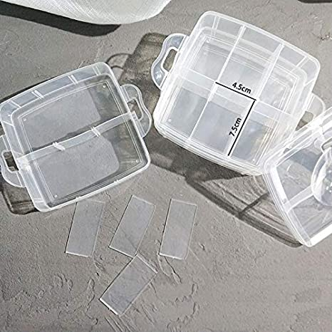 Snowkingdom Plastic Grid Box Storage Organizer Case for Display Collection with Adjustable Dividers Free Letter Stickers 4 PCS x 15 Grid
