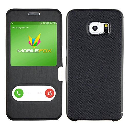 Mobilefox Fenster Flip Touch Cover Case Klapptasche Schutz Hülle Samsung Galaxy S6 Edge Schwarz