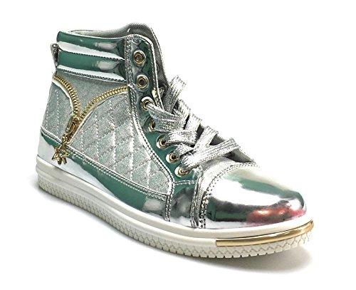 designer fashion 7e032 6d81c Retour À Lécole Chaussures De Sneakers Mode Métallique Élégant Pour Les  Femmes Confortable Et Élégant Argent