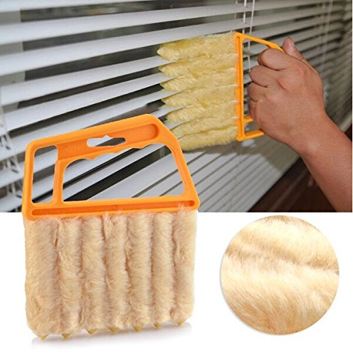 Mini-Blind Cleaner Brush Vertical Window Blinds Brush Cleaner Mini 7 Shape Handheld Magic Blind Cleaning Brush Novelty Household Tool for Shutter