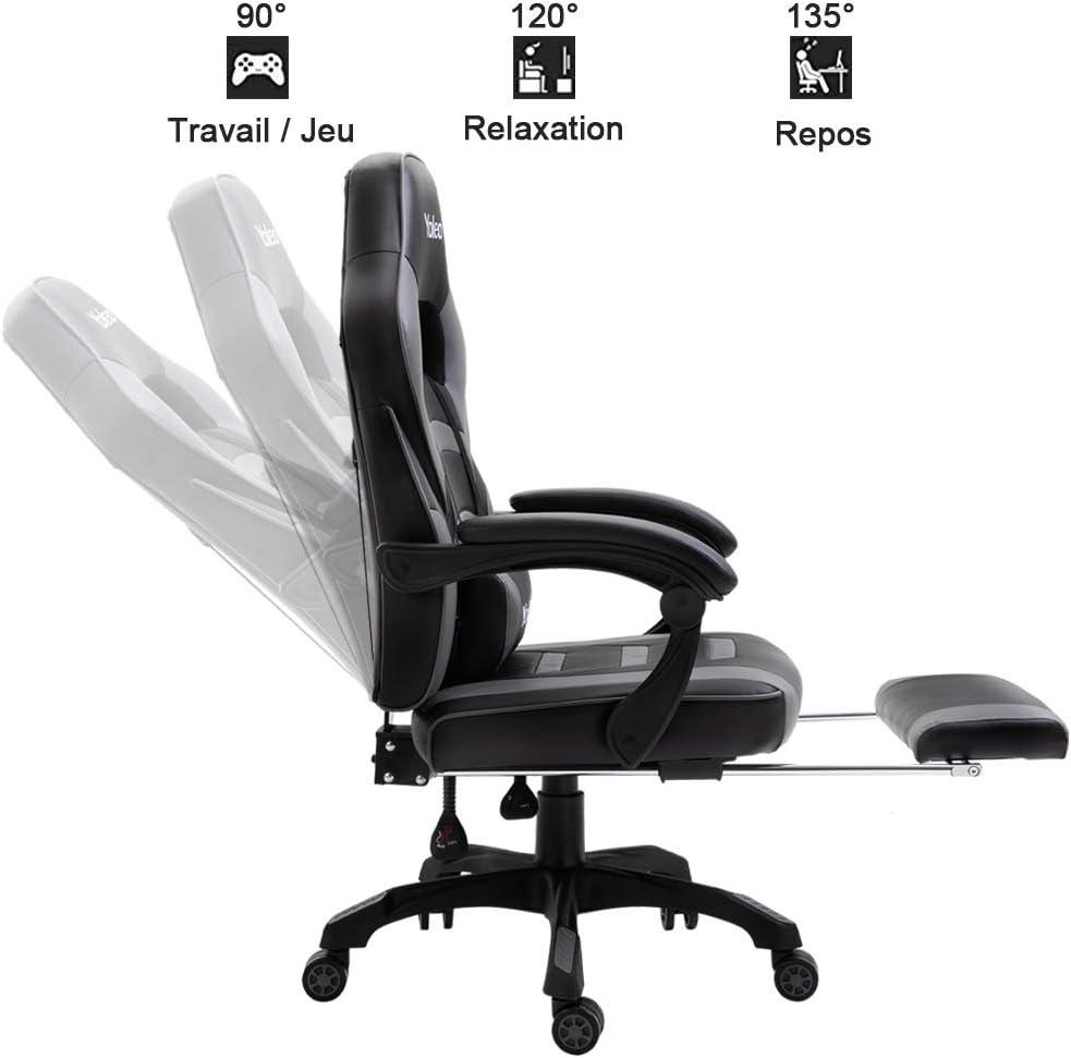 Fauteuil de Jeu avec roulettes Chaises de Gaming Dossier inclinable en PU Ergonomiques Chaise de Jeu pour Ordinateur Pivotantes YOLEO Chaise de Bureau Gris