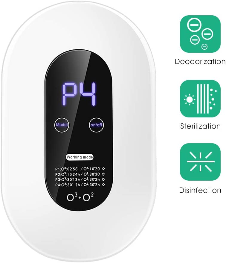 Anykit Ozone Machine Air Purifier Deodorization Home Air Ionizers Deodorizer with 4 Modes Automatic Timing Function for Rooms, Smoke, Cars and Pets