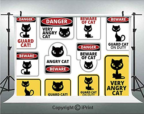 (Funny Photography Backdrops Beware Guard Cat Signs Humorous Comic Labels and Plates Warning Graphic,Birthday Party Background Customized Microfiber Photo Studio Props,5x3ft,Yellow Black Red White)