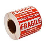 """[2 Rolls, 1000 Labels] 2"""" x 3"""" Fragile Stickers Handle with Care Warning Packing/Shipping Labels - Permanent Adhesive"""