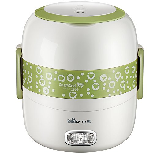 Bear 1.3L Electric Lunch Box Mini Rice Cooker 2 Layer Stainless Steel Inner Pot Heating Box INPUT VOLTAGE 220V