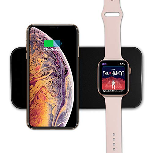 VRURC Wireless Charger for Apple Watch, 2-in-1 Charging Pad Compatible with iWatch Series 4/3/2/1, for iPhone Xs Max/XS/XR/X/8/8 Plus, for Samsung S8/Note8(Black)