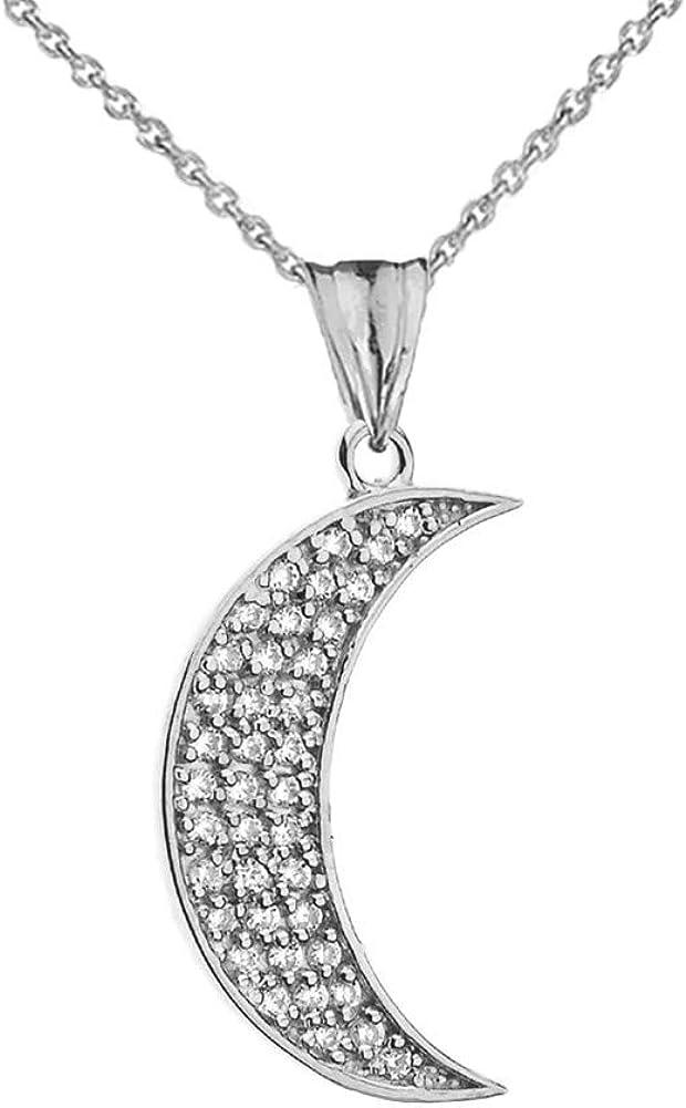 CaliRoseJewelry 10k Gold Crescent Moon Cubic Zirconia Pendant Necklace