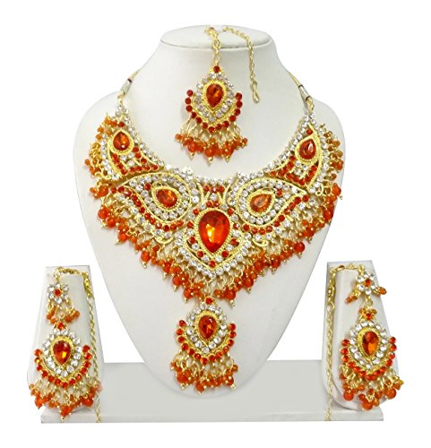 Exquisite Jewels Gold plated Necklace set with Earrings and Maang Tikka Indian Bollywood Jewelry Set Ethnic JS9001 Orange