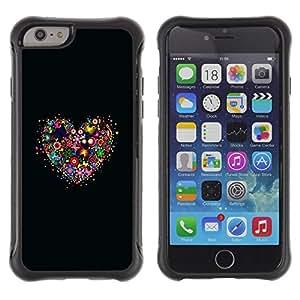 Suave TPU Caso Carcasa de Caucho Funda para Apple Iphone 6 / Flower Heart Black Nature Spring Love / STRONG