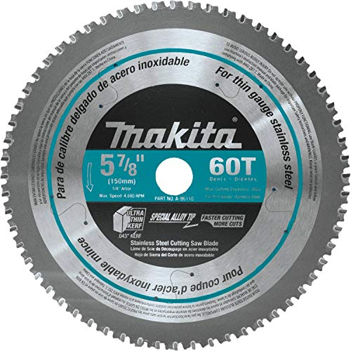 """Makita A-96110 60T Stainless Steel Carbide-Tipped Saw Blade, 5-7/8"""""""