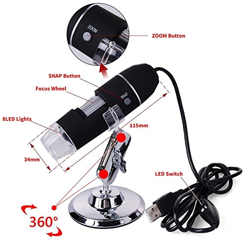 eBoTrade Portable USB Digital Microscope 20x-800x Magnification 8-LED Mini Microscope Camera Magnifier with Stand