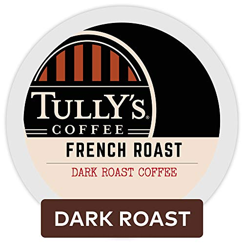 French Medium Roast Coffee - Tully's Coffee, French Roast, Single-Serve Keurig K-Cup Pods, Dark Roast Coffee, 72 Count (3 Boxes of 24 Pods)