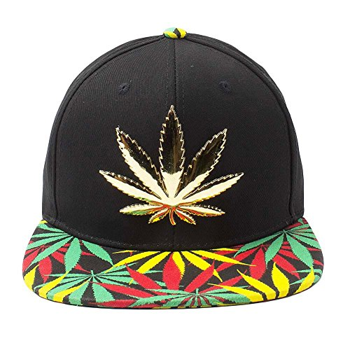 Cap2shoes-Marijuana-Weed-Leaf-Cannabis-Snapback-Hat-Cap-Metal-BlackRasta