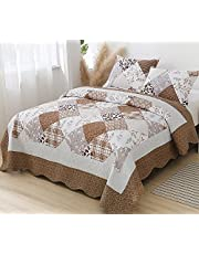 KINBEDY Quilted Bedspread Coverlet Set 3 Pieces Patchwork Quilt Reversible Botanical Stitched Bedding Cover with Pillow Shams,Full/Queen