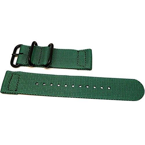 DaLuca Two Piece Ballistic Nylon NATO Watch Strap - Green (PVD Buckle) : 20mm