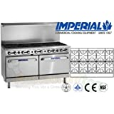 Imperial Commercial Restaurant Range 60 With 10 Burners 2 Standard Ovens Natural Gas Model Ir-10