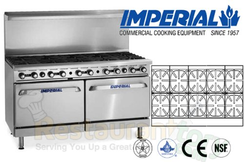 Imperial Commercial Restaurant Range 60'' With 10 Burner 2 Convection Oven Propane Ir-10-Cc by Imperial