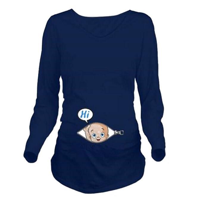 Las mujeres embarazadas impresas camisa cómoda de manga larga salvaje camisa de fondo salvaje de maternidad