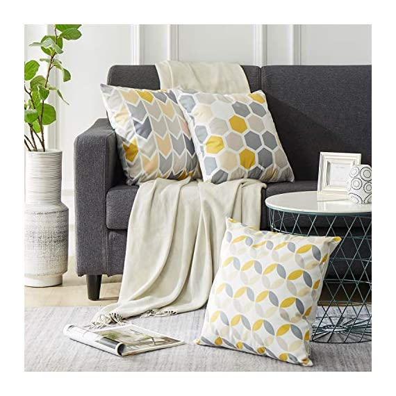 Top Finel Square Decorative Throw Pillow Covers Soft Microfiber Outdoor Cushion Covers 18 x 18 for Couch Sofa Bedroom, Set of 6, Grey & Yellow - SUPER PLUSH MATERIAL & SIZE: Made of ultra soft microfiber, comfortable to touch and lay on. 18 X 18 Inch per pack, included 6 packs per set, NO PILLOW INSERTS. WORKMANSHIP: Delicate hidden zipper closure was designed to meet an elegant look. Tight zigzag over-lock stitches to avoid fraying and ripping. NO PECULIAR SMELL: Because of using environmental and high quality ultra soft fabric,our throw pillow cases are the perfect choice for those suffering from asthma, allergen, and other respiratory issues. - patio, outdoor-throw-pillows, outdoor-decor - 51YddiETbWL. SS570  -