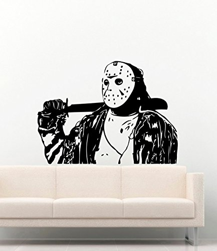 Jason Voorhees Dead Horror Vinyl Wall Decals Halloween Friday the 13th Decor Stickers Vinyl Mural MK3387 ()