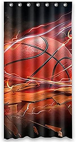 Anne Home Custom Basketball Blackout Window Curtain Panel 52 x63 One Piece Fabric for Bedroom Home