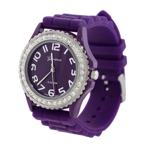 Purple Silicone Gel Ceramic Style Band Crystal Bezel Women's Watch - Gel Watch Band