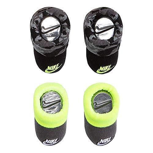 Nike Infant Newborn Baby Booties (2 Pair) (Black/Gray/Yellow, 0-6 Months) LN0241-023