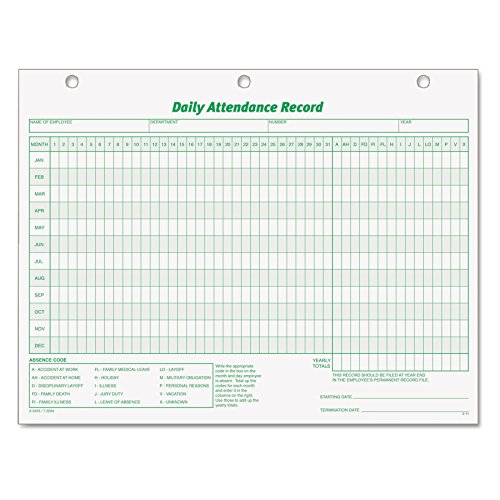 - TOPS 3284 Daily Attendance Card, 8 1/2 x 11 (Pack of 50 Forms)