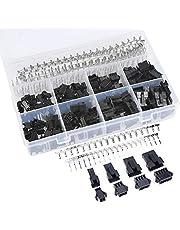GTIWUNG 560 stuks 2,5 mm JST SM 2 3 4 5 pin aansluiting mannelijk en vrouwelijk connector assortiment set, 2/3/4/5 pin zwart kunststof mannelijk vrouwelijk JST-SM Housing krimp terminal connector