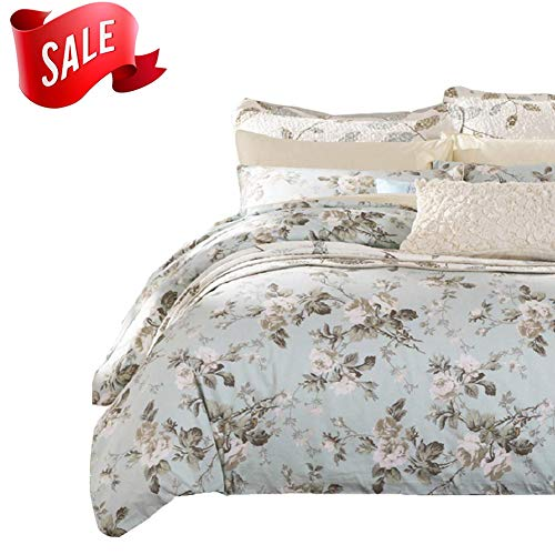 SexyTown French Country Garden Toile Floral Printed Duvet Quilt Cover Egyptian Cotton Bedding Set Chinoiserie Peony Blossom Tree Branches Multicolored Design Twin Light Green