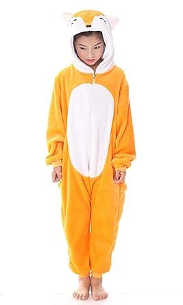 5c7ab8acc7b7 Amazon.com  Fox Onesie Adult Kids Pajamas Onepiece Halloween Cosplay  Costume Animal Outfit  Clothing