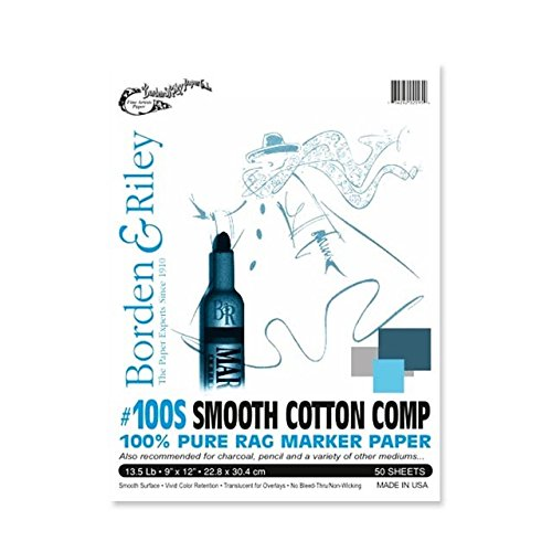 Borden & Riley #100S Cotton-Comp Smooth Marker Paper Pad, 9 x 12 Inches, 13.5 lb. 100% Cotton Rag, 50 Sheets, 1 Pad Each -