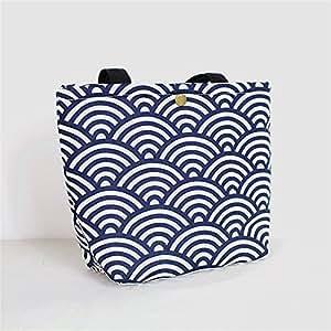qearly Sea Wave estilo Portable Lunch–Bolsa Bolsa de picnic bento de B
