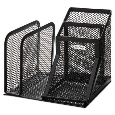 (Wire Mesh Desk Organizer with Pencil Storage, 5 3/4 x 5 1/8 x 5 1/8, Black)