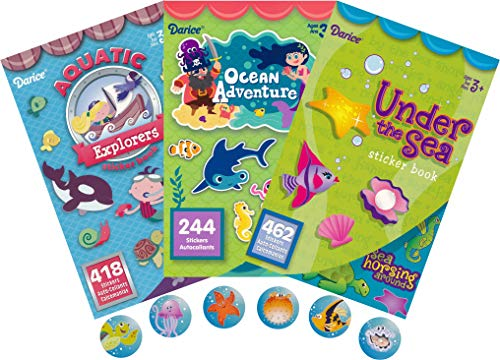 (Ocean Adventures, Aquatic Explorers and Under The Sea Assorted Sticker Books for Kids - 3 Books Plus 50 Additional Tropical Sea Life Stickers - Over 1100 Stickers - Bundle)