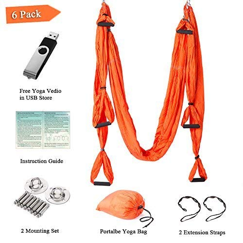 Aukiee Yoga Swing Hammock Inversion Exercises 6 Pack with 2 Mounting Sets/2 Extension Straps/Free Vedio with 512MB USB Flash Drive (Orange)