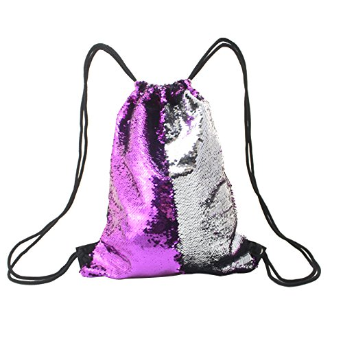 Mermaid Bag Sequin Drawstring Backpack Outdoor Shoulder Bag,Bling Shining Bag for Girls Sequined Fuchsia Fabric