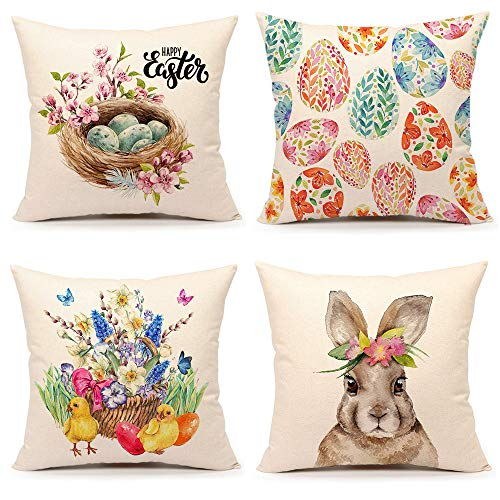 4TH Emotion Spring Easter Throw Pillow Cover Bunny Egg Chick Cushion Case for Sofa Couch 18 x 18 Inches Cotton Linen Set of 4