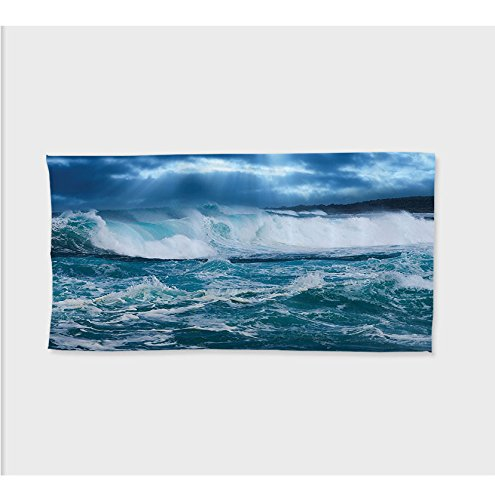 Sophie 27.5W x 11.8L Inches Custom Cotton Microfiber Ultra Soft Hand Towel Ocean Decor Collection Huge Seaaves in a Stormy Day Sky is Completely Closedith Clouds Few Sun Rays Image Extra Long Navy Blu