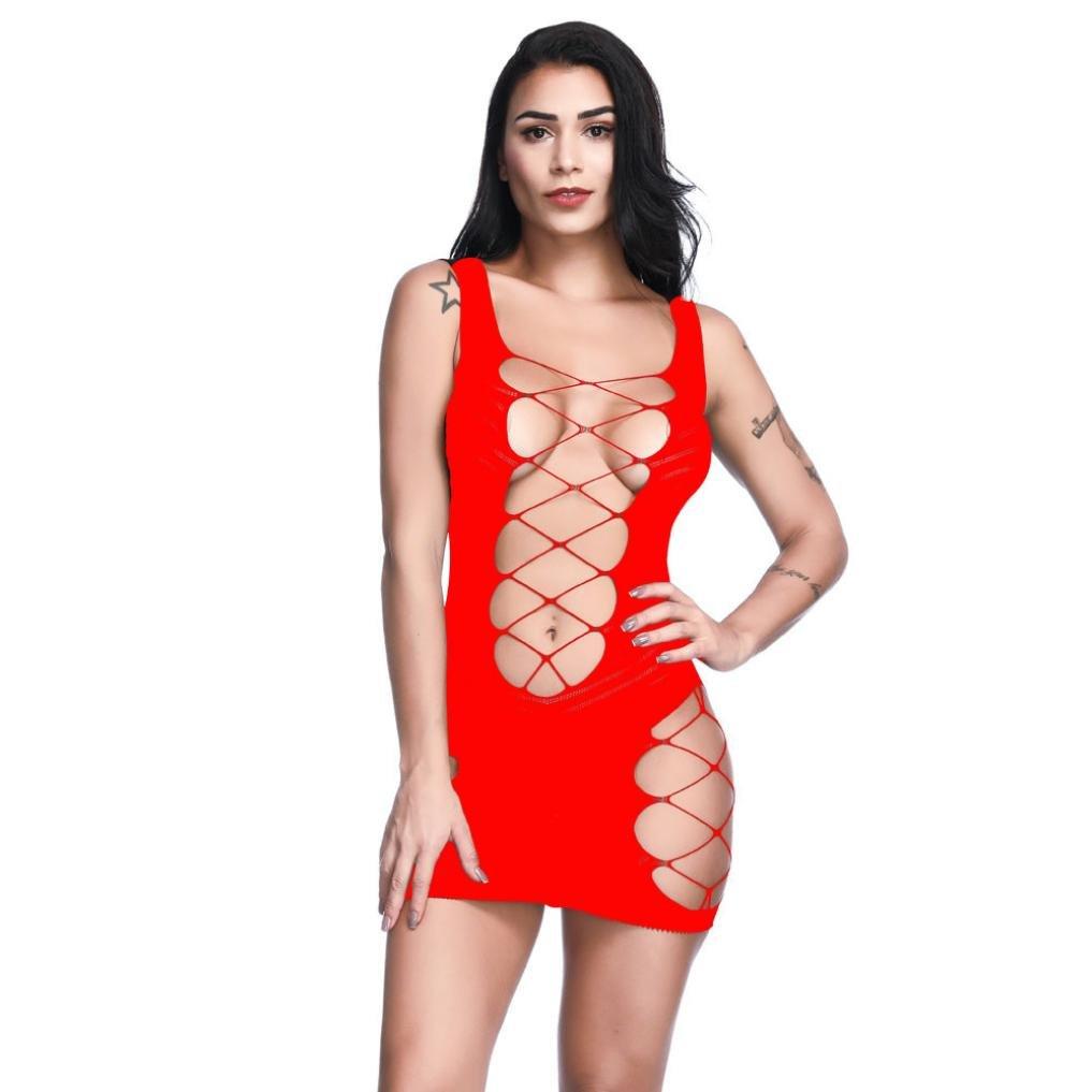 Ronamick Woman's Sexy Lingerie Halter Mesh Hole Mini Dress Bodysuit Babydoll Hanging Neck Hollow Within Temptation Transparent Nightwear