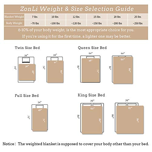 Cool  Weight 60/'/'x80/'/' Khaki, Queen Size ZonLi Cooling Weighted Blanket 20 lbs