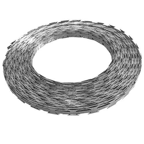 Festnight Galvanized Steel Garden Fence Clipped Concertina NATO Razor Wire Ribbon Barbed Wire Fencing (Wire Length:328',Coil Diameter:13.8