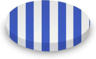 product image for SheetWorld 100% Cotton Percale Round Crib Sheet, Royal Blue Stripe, 42 x 42, Made in USA