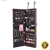 COLIBROX--Lockable Wall Mount Mirrored Jewelry Cabinet Organizer Armoire Lights Christmas,locking jewelry armoire,locking jewelry armoire floor standing,jewelry box for necklaces,jewelry gift box