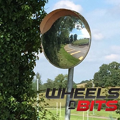 NEW 30cm SITE ROAD FARM ENTRANCE BLIND SPOT CONVEX MIRROR & BRACKET ORANGE BACKING Wheels N Bits